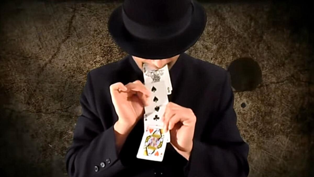 Cards from mouth magic trick